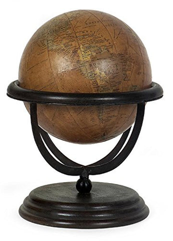 "12"" Exquisite Wooden Globe Decorative Table Top Accent"