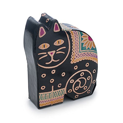 """Kitty"" Fair Trade Handmade Leather Coin Bank"