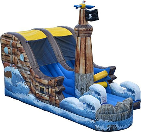 19' Pirate Shipwreck Water Slide, Wet or Dry Slide, Includes 1.5 HP Blower and