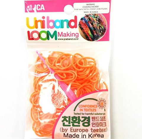 """Fun,Fun Fun"" with Colorful playful Loom Band by Uni band made in Korea, 120 bands, 5 C Clips, and one plastic Hook per Pack, Neon Orange color, Perfect for Hair bands"