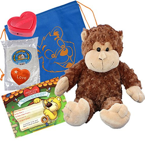 """Mookie"" the Monkey (16"" Plush) w/Heart shaped Voice recorder (No-Sew DIY Build-a-Plush Kit)"
