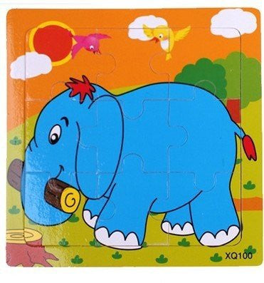 (A) 7 Pack Different Wooden Puzzles Kids Children Animal Toys, Age 1-4, Elephant Butterfly Cow Bee Deer Frog Chicken