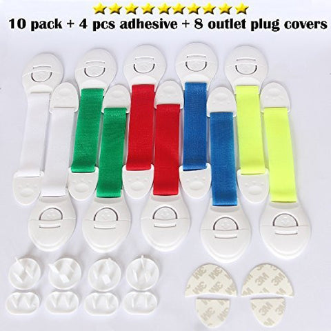10PCS Adjustable Child Safety Locks (Multicolor) plus 8PCS Electrical Outlet Covers with Adhesive Safety for Cabinets lock , Refrigerator lock , Windows lock - 4PCS Free Extra 3M Adhesives by OZUZ