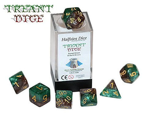 """Treant"" Halfsies Dice - 7 die polyhedral rpg gaming dice set - Forest Green & Bark Brown"