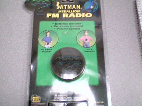 1995 Micro Games Of America DC Comic Batman Medallion FM Radio #BAT-8090 (Batman Belt Buckle Radio or Batman Neck Pendant Radio)