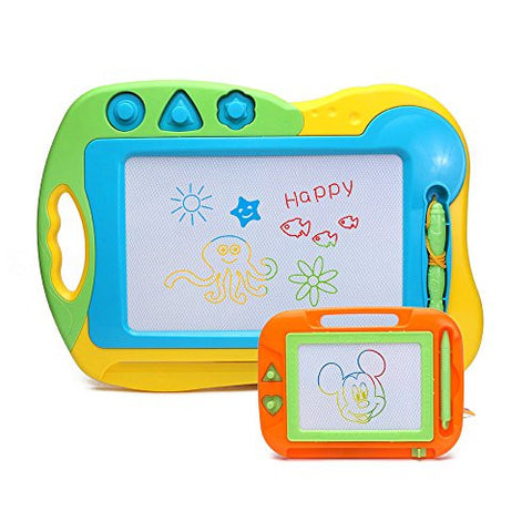 2 Pieces Doodler Sketch Colorful Screen Erasable Magnetic Drawing Board Toddler Toy by Happytime
