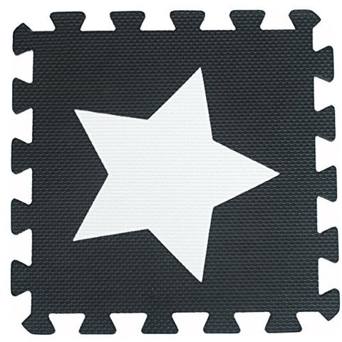 10pcs Black White Star Style Soft Puzzle Mats Rugs Flooring Mats for Kids Soft Foam Play Mat Jigsaw Pop-Out Mats