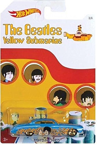 """FISH'D N CHIP'D"" 2016 Hot Wheels THE BEATLES 50th Anniversary ""YELLOW SUBMARINE"" 1:64 Scale Collectible Die Cast Metal Toy Car Model 1/6"