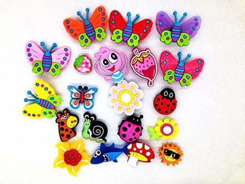 20 Butterfly Dragonfly Ladybug Flowers Charms Fits Jibbitz Croc Shoes & Wristband Bracelet