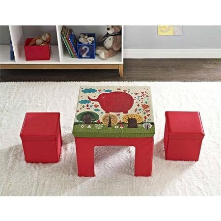 Altra Kids' Fun, Colorful, Durable, Neat Folding Fabric Table and Storage Ottoman Set- Red Elephant