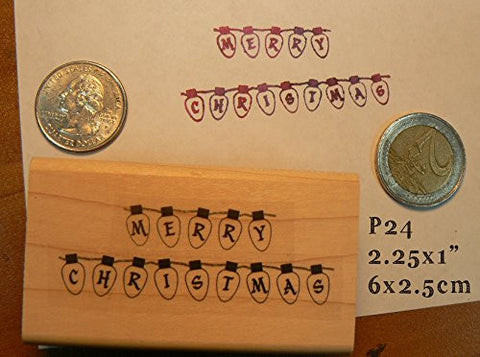 """Merry Christmas"" Light String rubber stamp WM"