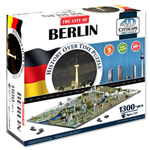 1180+ Piece Berlin Germany Skyline 4D Time Puzzle - Includes Bonus Deck of Cards!