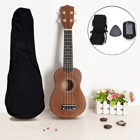 21 Inch Acoustic Soprano Hawaii Ukulele With Guitar Tuner And Gig Bag