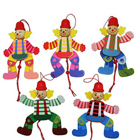 1 Pcs Wooden Clown Toy Funny Pull String Puppet Creative Marionette Toy for Kid By Team-Management