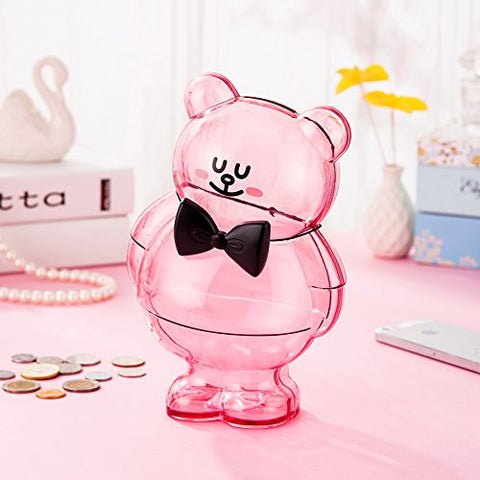 """Fair Lady"" Crystal Clear Piggy Bank Pink for Adults, Girls, Teen Girls with Drawstring Bag 8.8""3.7""5.7"" - [Food Grade Plastic]"