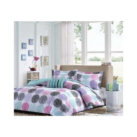 1 X Full/queen Reversible Comforter Set Pink Teal Purple Bedding Teen Girls Pillows by Mi-Zone
