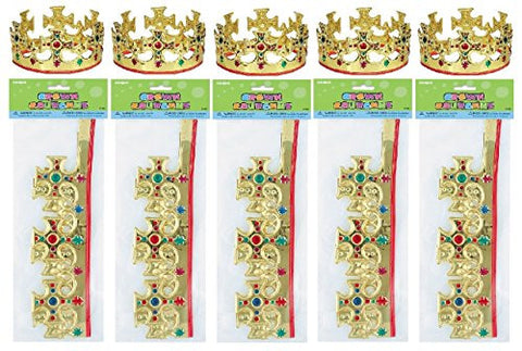 (10) Majestic Plastic Jeweled Party King Crowns ~ Children's Party Supplies
