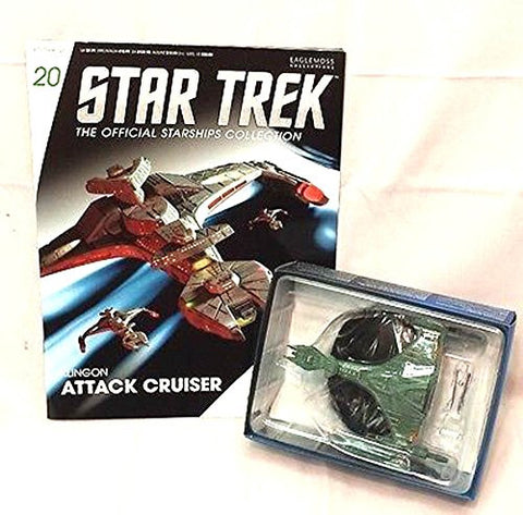 #20 Star Trek Klingon ATTACK CRUISER Die-Cast Metal Ship-UK/Eaglemoss w Mag
