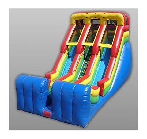 18 Foot Inflatable Double Lane Slide w Middle Climber
