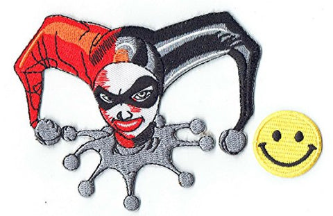 """HARLEY QUINN FACE BATMAN VILLAIN GOTHAM JOKER DC COMICS"" Applique embroidered iron on PATCHES (Wappen, ???? , ??) with Yellow Tiny Smiley Patches by PATCH CUBE"