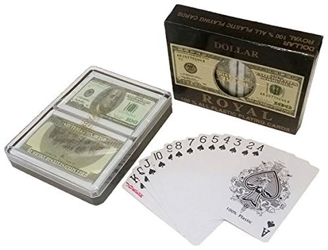 $100 Bill Playing Cards 100% All Plastic Card, 1 set Double-Deck (2 Decks) With Case
