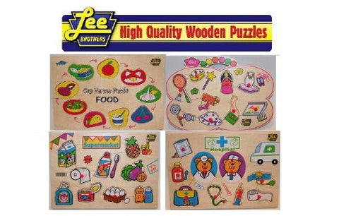 4 Puzzle Pack Includes: Food, Supermarket, Bakery and Girl Wooden Peg Puzzle Pack