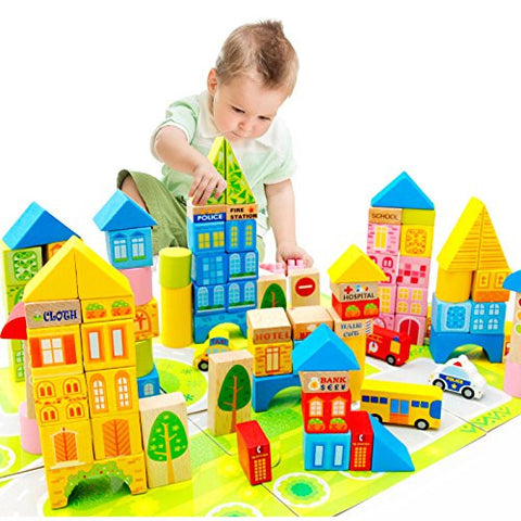 100 Piece City Traffic Wooden Building Blocks Stacking Set Toys For Kids Gift