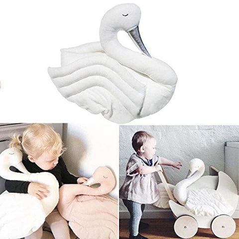 17.7Inch WHITE Babys NURSERY Swan Soft Sleeping Pillows Stuffed Plush Animal Room Decor COT Toy