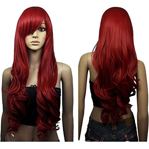 80cm Dark Wine Red Long Big Wave Mix Full Volume Curly Wavy Wig W/ Long Bang Women's Girl Hot Full Hair Wigs Cosplay Costume Party Anime Wigs