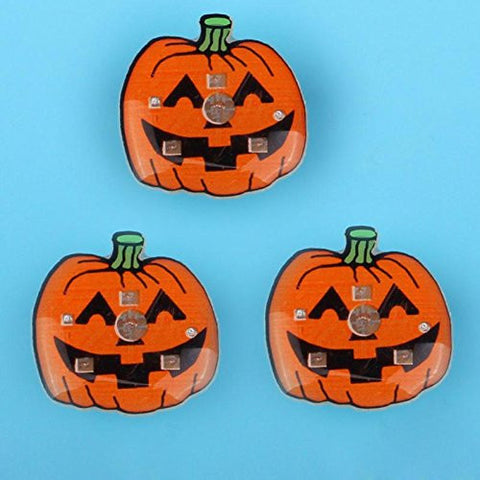 1 Pc LED Flashing Brooch Pumpkin Ghost Skull Witch Light Up Toys Glowing Badge Kids Party Supplies-Orange -Pier 27