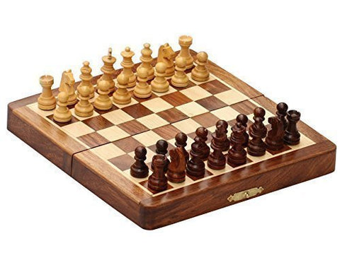 """KIMARO"" Classic Wood 8 X 8 Inch Pocket Chess Set Chess Pieces and Folding Game Board"