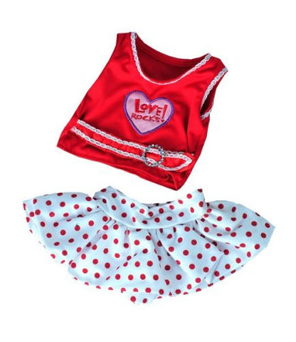 """Love Rocks"" w/Polka Dot Skirt Teddy Bear Clothes Outfit Fits Most 14"" - 18"" Build-a-bear, Vermont Teddy Bears, and Make Your Own Stuffed Animals"
