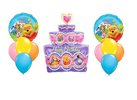 """Happy Birthday"" Winnie The Pooh Cake Balloon Bouquet"