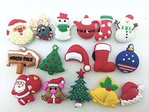 16pcs Christmas Day,santa Claus,christmas Trees Shoe Charms for Croc Shoes & Wristband Bracelet