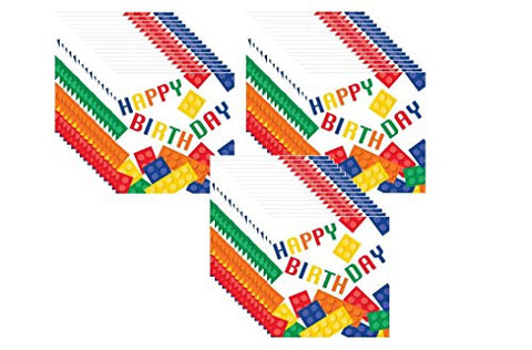 """Happy Birthday"" Building Block Lunch Napkins (48 Count)"