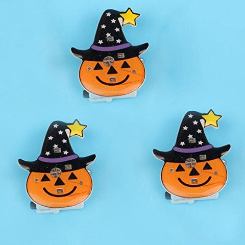 1 Pc LED Flashing Brooch Pumpkin Ghost Skull Witch Light Up Toys Glowing Badge Kids Party Supplies-Light Orange -Pier 27