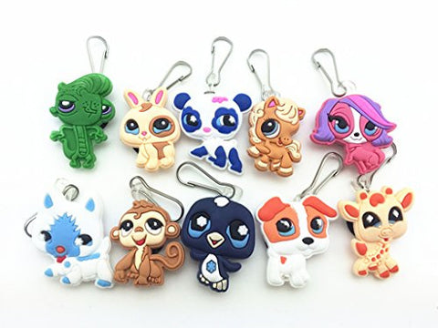 10pcs Littlest Pet Shop Zip Pull & Zipper Pull Charms for Jacket Backpack Bag Pendant