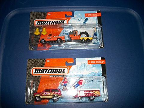 (2)Matchbox Playsets with Truck , Man/ Trailer and BackHoe