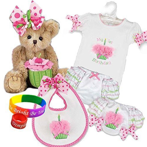 """Casey Cupcake"" Plush Bear and Her 1st Birthday Onesie, Diaper Cover, Bib from Bearington Baby Collection with DimpleChild ring and bracelet"