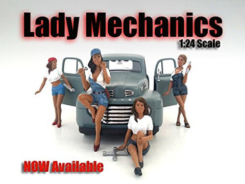 """Lady Mechanics"" 4 Piece Figure Set For 1:24 Scale Models by American Diorama 23959-23960-23961-23962"