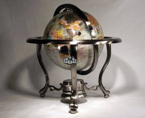 "10"" Tall Pearl Swirl Ocean Table Top Gemstone World Map Globe with 3-leg Silver Stand"