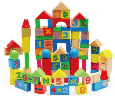 100 alphanumeric building blocks!Children's early education and intelligence toys!Wooden children's building blocks toys! DA - 1