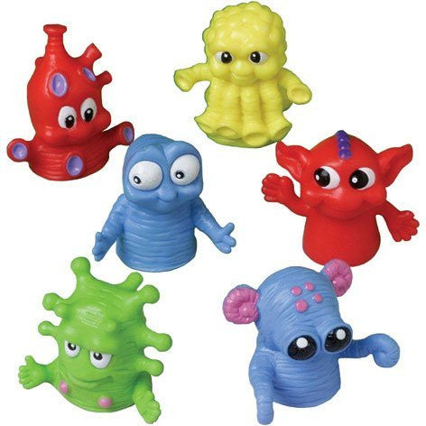"1.5"", Plastic Monster Finger Puppets in Assorted Monster Designs, Lot of 12"