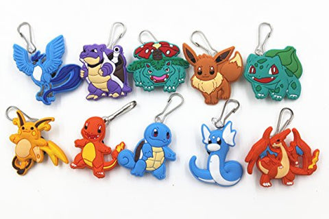 10pc New Pokemon Pikachu Zip Pull & Zipper Pull Charms for Jacket Backpack Bag Pendant