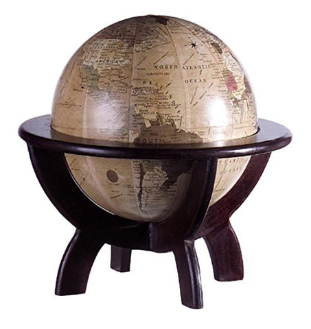 "11"" Vintage-Style Table Top Globe with Dark Wooden Stand"