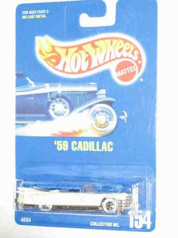 #154 59 Cadillac White With White Wall Basic Wheels Collectible Collector Car Mattel Hot Wheels