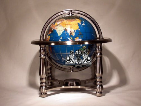 "10"" Tall Turquoise Ocean Table Top Gemstone World Map Globe with 4-leg Silver Stand"