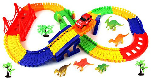 'Dinosaur Rail 4' 142 Pcs Flexible Toy Car & Track Playset w/ Battery Operated Toy Car, Accessories, Endless Fun & Combinations