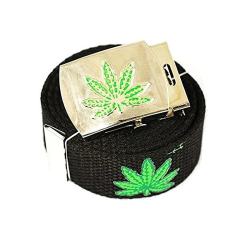 """Marijuana Leaf"" Canvas Military Black Web Belt & Buckle 60 Inch"