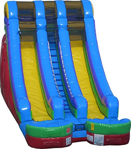 18' Double Lane Water Slide Retro Colors - Wet or Dry Commercial Inflatable Slide, Includes 1.5 HP Blower and